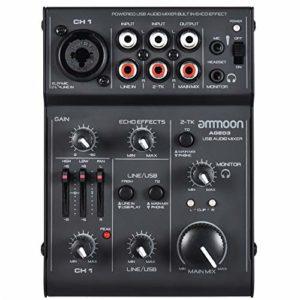 ammoon Console de Mixage Table de Mixage Mélangeur 5 Canaux Mini Mic-Line avec Interface Audio USB Intégrée Effet Echo pour Enregistrement DJ Network Live Broadcast Karaoké AGE03