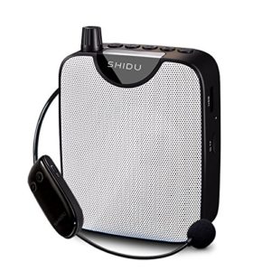 Amplificateur vocal, SHIDU Amplificateur vocal sans fil 10W Rechargeable Portable PA System Speaker avec FM sans fil Microphone Casque Support MP3 Play pour les enseignants,Yoga,guides touristiques