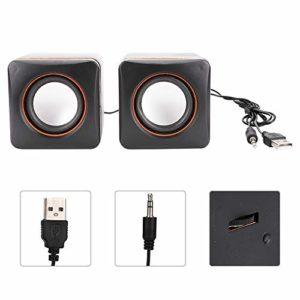 Annjom Haut-Parleur de Bureau en Plastique léger, Mini Haut-Parleur USB Noir, pour Ordinateur Portable(Dual Channel)