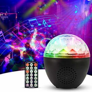 Anpro Lampe de fête avec haut-parleur Bluetooth et câble USB de 1,2 m, télécommande, pour anniversaire, Noël, fête à la maison, décoration de chambre