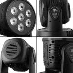 AONCO Moving Head Éclairage de scène 100W RGBW 4 en 1 Moving Heads DJ éclairage DMX512/Auto/Son Active/maître-esclave Mini LED Moving Head lumière pour Disco mariage Event LR de Show
