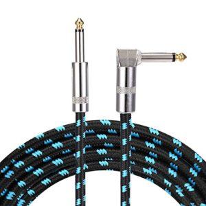 """Asmuse Câble Guitare 3M Silencieux Angle Droit à Jack 6.35mm 1/4"""" Mâle à Mâle Mono TS Plugs Cable d'instrument Tressé Blindé Pro Cordon Phono pour Guitare Basse et Claviers électronique(10ft)"""