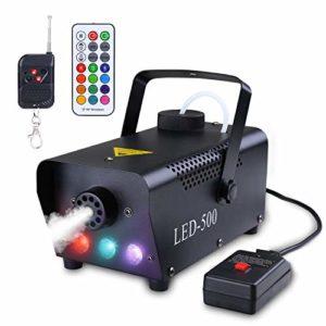 Asmuse Machine à Fumée Sans Fil avec Télécommande Fumée pour fête de Halloween Mariage Stade DJ Machine de brouillard LED avec Lumières de Couleur & Fumée à Haute densité