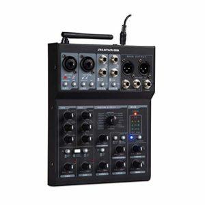 auna Blackbird table de mixage 6-canaux • 6 canaux • Connexion USB • Bluetooth • 2 x connecteur microphone avec réglage des graves et des aigus • 16 effets • pour +48V microphone à condensateur • noir