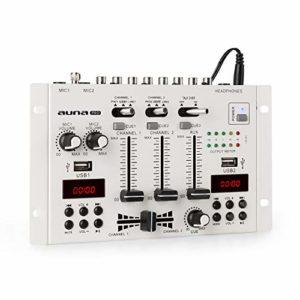 AUNA DJ-22BT MKII – Console de mixage, 2/3 canaux, Bluetooth, 2 USB, 2 écrans, 2 entrées de Ligne/Phono, 1 entrée AUX, 2 Prises Micro, Fonction cue, Faders Doux, Talkover, Montage Rack, Blanc