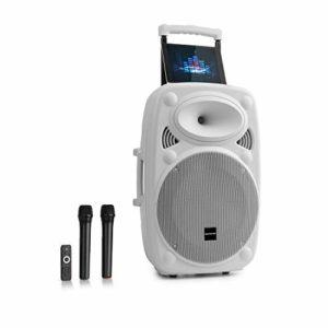 Auna Streetstar 12 • Système Sono Portable • Enceinte 12″ (30,5 cm) • 2 x micros UHF • 800 Watts
