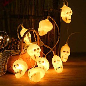 Baoer Guirlande lumineuse LED tête de mort pour fête fête Halloween Fantôme Tête de mort Ornement Tête de mort 2 mètres 20 lumières Blanc chaud