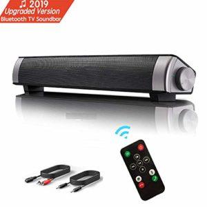 Barre de son, Haut-parleur, Bluetooth TV Soundbar stéréo filaire HD Audio, Cinéma maison de son pour PC, téléphone portable,TV, tablette, son puissant, support RCA/ AUX/ Bluetooth, avec télécommande