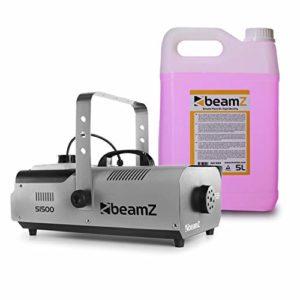 Beamz S1500 Machine à fumée avec 5L – 1500W, Réservoir de 2L , débit de fumée 295m3/min , Télécommande avec programmateur , Facile à utiliser , Idéal tout type d'évènement , Bidon 5L fourni