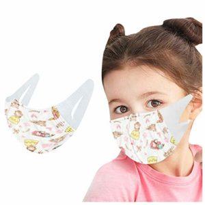 BIBOKAOKE Lot de 20/50 foulards anti-poussière pour enfant 3 épaisseurs avec bandana et protège-visage imprimé Cartoon
