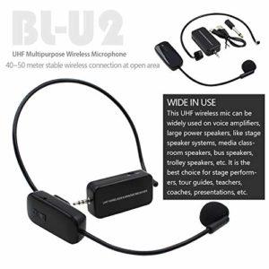 Bin Zhang Micro UHF sans fil multifonction micro sans fil et micro portable 2 en 1 fréquence changeable pour haut-parleurs de scène, guides touristiques, présentateurs de conférence, etc.