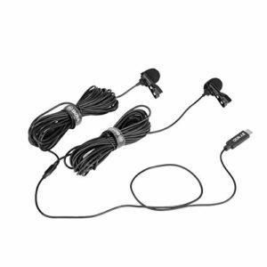 BOYA BY-M3D Microphones Dual Lavalier USB Type C compatibles avec les appareils iPad Pro, Mac, Samsung Android