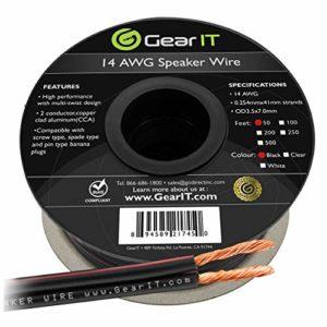 Câble de Haut-Parleur 14AWG, Série GearIT Pro Câble de Haut-Parleur de Calibre14 (15,24Mètres) Idéal pour Les Haut-Parleurs de Home Cinéma et Les Haut-Parleurs de Voiture, Noir