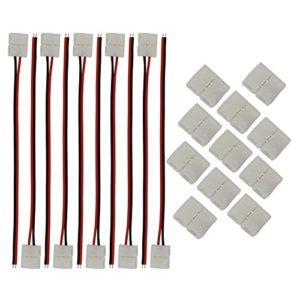 CESFONJER 10 PCS 2 pin connecteur LED Bande Flexible câble adaptateur Jumper 8 mm, 10 PCS 2 pin LED 8 mm connecteurs rapides, pour LED bande de fil 3528/2835 (Blanc)