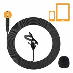 Comica CVM-V01SP Micro cravate Microphone Omnidirectionnel, Câble 2,5 m / 8,2 pieds pour Smartphones et Tablettes pour Youtube, Interview, Enregistrement Vidéo, Diffusion en Direct