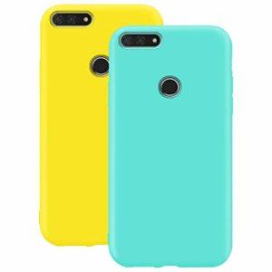 Coque en Silicone pour Huawei Y6 2018, Misstars Ultra Mince Souple TPU Gel Mat Bumper Doux Léger Anti Rayure Antichoc Housse Étui de Protection pour Huawei Honor 7A / Y6 2018, Jaune + Bleu