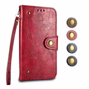 Coque Galaxy A8 2018, GORASS PU Flip Cover avec Fonction Stand et Fentes de Carte de Crédit, Housse avec Flexible Souple TPU Coque Intérieure pour Samsung Galaxy A8 2018, Rouge