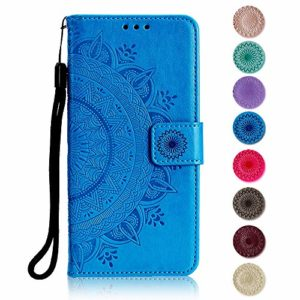 Coque Huawei P10, GORASS Antichoc étui en Cuir de première qualité avec Fentes et Stand Fonction pour Huawei P10, Housse avec Gaufrage de Fleurs de Mandala Motif, Bleu