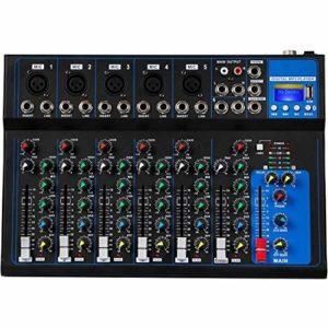 Depusheng 7 canaux USB Microphone numérique Console de mixage sonore Console 48V Alimentation fantôme Karaoké Audio Mixer Amplificateur avec Bluetooth