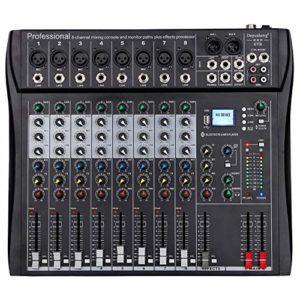 Depusheng DT8 Professionnel 8 Canaux DJ Sonore Mixage de Console avec Bluetooth et 48V Alimentation fantôme USB Jack