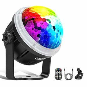 Disco Ball, OMERIL Boule Disco LED Lumière Disco avec Motif Enétoile, 10 Couleurs RGBY Boule à Facette Contrôlée par Musique, Lampe Disco Rotative à 360° avec Télécommande pour Fête/Noël/Bar/Club/DJ