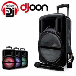 Enceinte 12″ 500W DJOON MyDJ à LED RVB Mobile sur batterie Bluetooth USB SD Micro + Tél