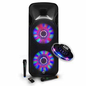Enceinte KARAOKE 1000W mobile Batterie Party BOXER215-LED 2 x 15″/38cm à LEDs + 2 MICROS sans fil – USB/BT/SD/FM/PC + effet OVNI