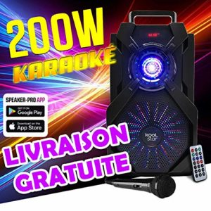 Enceinte Karaoke batterie – LED – Compatible APP – 200W – USB/SD/BT/EQ/FM + Micro + Tel