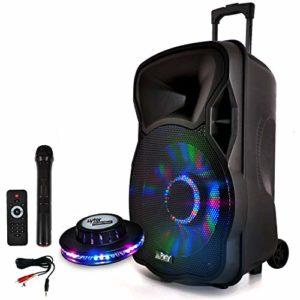 Enceinte Mobile Batterie LED 600W 12″ à LEDs RVB – USB/BT/SD Effet OVNI Câble PC