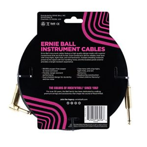 Ernie Ball – Câble pour instrument droit / angle tressé de 25 ' – noir