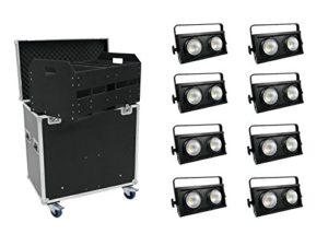 EUROLITE Lot de 8x audience Blinder 2x 100W LED COB + Case