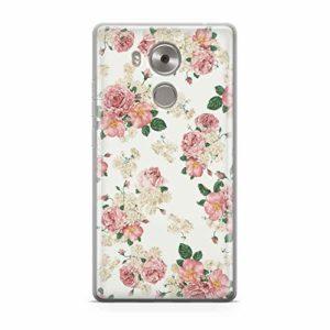 FINOO Coque de Protection en Silicone TPU pour Huawei Mate 8 Motif Roses