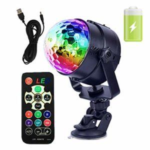 GCBTECH mini Eclairage De Scène Lumière d'atmosphère Lampe de Scène RGB LED en 7 Couleurs 5W, Disco Effet DJ, Activé par la voix pour Bar, Soirée de Club, en Plein Air (Batterie rechargeable intégrée)