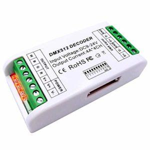 GIDERWEL Mini 4 Canaux DMX RGBW Décodeur 16A RGB RGBW Contrôleur de Bande DMX 512 Variateur Pilote Pour LED Strip Lights DC12-24V