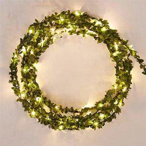Guirlande lumineuse de Noël 2-5 mètres 20-50 LED Fil de cuivre autour du rotin vert Jour de Noël Intérieur et Extérieur Bar Lumières de décoration USB Chaud 5 mètres 50 lumières