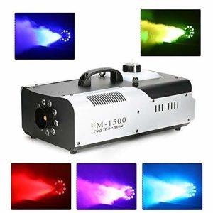 HaroldDol Machine à brouillard avec télécommande et LED, DMX512 1500 W, stable et portable, convient pour Halloween, Noël, fêtes de mariage & spectacles, etc.