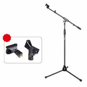 HEMFV Pied de microphone Pied de microphone pliable – Support de microphone universel et hauteur réglable avec sac de transport – Mécanisme de verrouillage de la tension des boutons
