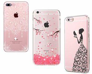 Homikon [3 PCS Mandala Paillette Brillante Fleur de Cerisier Rose Noir Fille Papillon Coque en Silicone TPU Etui de Protection Souple Housse Bumper Étui Case Cover Couverture pour iPhone SE/5S/5