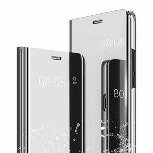 Homikon Miroir Coque pour Galaxy J6 Plus Anti-Choc Technologie Housse Etui à Rabat Flip Case Ultra Mince Translucide View Standing Support Cover Bumper pour Samsung Galaxy J6 Plus 2018 – Argent
