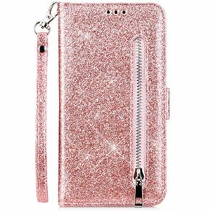 Hpory Case Cover Compatible avec Samsung Galaxy J5 2017 J530 Glitter Coque à Rabat Portefeuille Etui en Cuir Femme Fille Zipper Brillant Bling Wallet Case Magnetic avec Fonction Stand,Or Rose