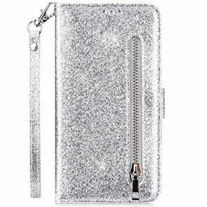 Hpory Case Cover Compatible avec Samsung Galaxy J6 Plus 2018 Glitter Coque à Rabat Portefeuille Etui en Cuir Femme Fille Zipper Brillant Bling Wallet Case Magnetic avec Fonction Stand,Argent