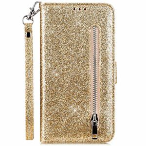 Hpory Case Cover Huawei P20 Lite Glitter Coque à Rabat Housse Portefeuille Etui en Cuir Femme Fille Zipper Brillant Bling Wallet Case Magnetic avec Fonction Stand,D'or