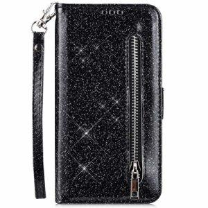 Hpory Case Cover Huawei P20 Lite Glitter Coque à Rabat Housse Portefeuille Etui en Cuir Femme Fille Zipper Brillant Bling Wallet Case Magnetic avec Fonction Stand,Noir