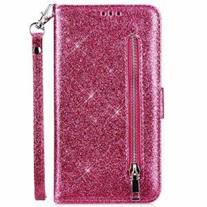 Hpory Case Cover Huawei P20 Lite Glitter Coque à Rabat Housse Portefeuille Etui en Cuir Femme Fille Zipper Brillant Bling Wallet Case Magnetic avec Fonction Stand,Rose Rouge