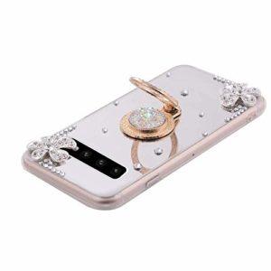 Hpory Compatible avec Étui Samsung Galaxy S10 Coque Silicone Case en Miroir Étui de Protection Flexible Ultra Fine Housse Cover avec Support Anneau Étui a Strass Glitter Case,Argent
