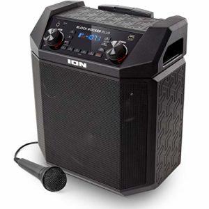 ION Audio Block Rocker Plus, Enceinte Bluetooth Portable 100W, Radio AM / FM, Bluetooth, Entrée Aux, Roulettes et Poignée Télescopique, Microphone, Port USB pour Smartphones et Tablettes