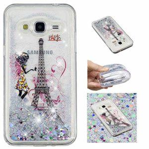 KM-Panda Coque Samsung Galaxy J3 2015 2016 Paillette Brillante LiquideGlitter Silicone TPU Transparent Motif Ultra Fine Slim Bumper Antichoc Etui Housse Case Cover – YYY