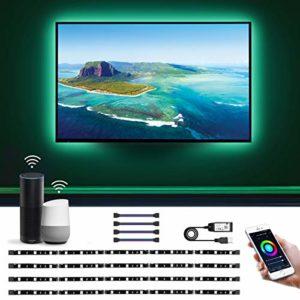 LE 2M Ruban LED TV USB Connecté WIFI, 4×Bande Lumineux Intelligente 60LEDs 16 Millions Couleurs, TV Lightstrip avec Minuterie, Smartphone APP Connecté en un Clic, Compatible avec Alexa et Google Home