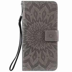 Lomogo Coque Nokia 8.1 2018, Housse en Cuir Portefeuille avec Porte Carte Fermeture par Rabat Aimanté Antichoc Étui Case pour Nokia8.1 – LOKTU020315 Gris
