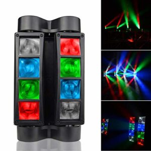 Lyre Led, AONCO DMX512 80W Mini disco lumiere, RGBW 11 canaux, Tête mobile/Vocale Commande/DMX512/ Master Slave, pour Club Bar KTV Disco Show